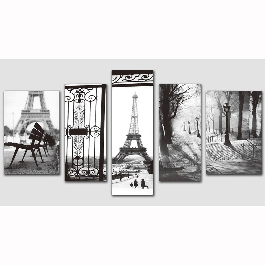 5 Pieces 3 Style Black And White Picture Paris Eiffel Tower Modern Regarding Black And White Paris Wall Art (Image 2 of 20)