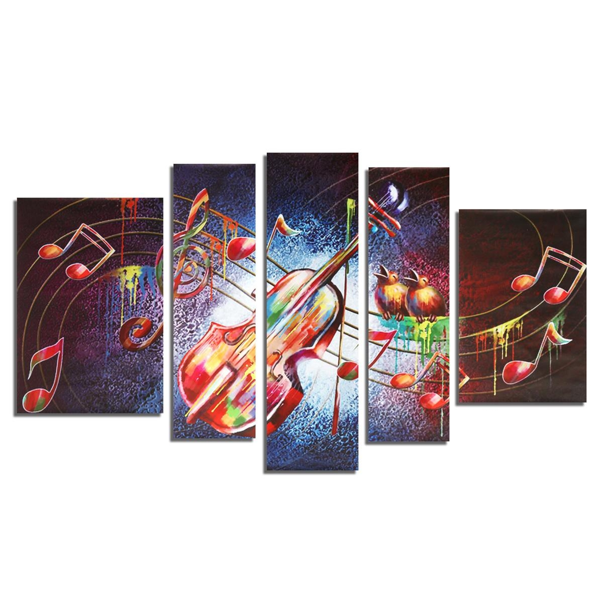 5 Pieces Frameless Guitar Music Shape Canvas Printing Wall Art within Guitar Canvas Wall Art