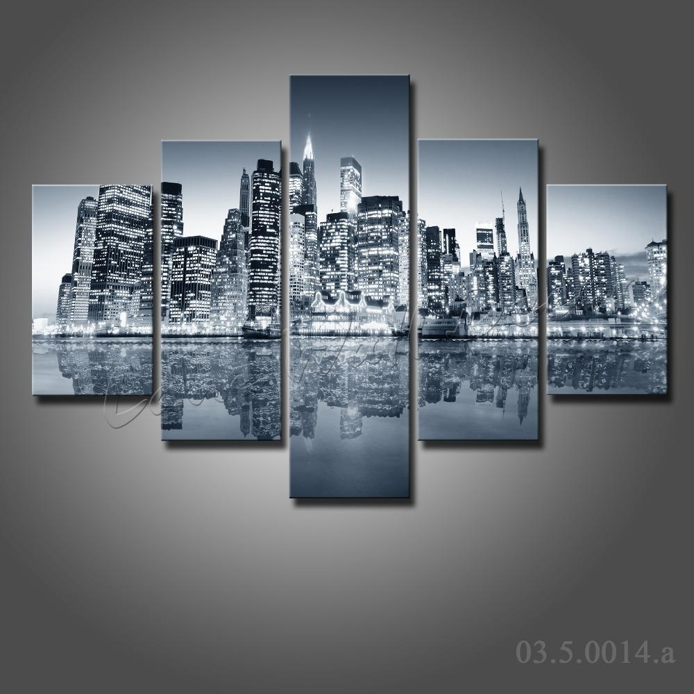 5 Pieces Large Canvas Painting New York City At Night Canvas Pertaining To New York Skyline Canvas Black And White Wall Art (View 14 of 20)