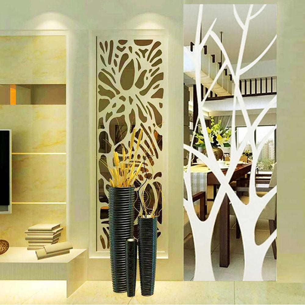 50Cm*185Cm Removable Lucky Tree Acrylic Mirror Wall Stickers Diy Within Abstract Mirror Wall Art (Image 2 of 20)