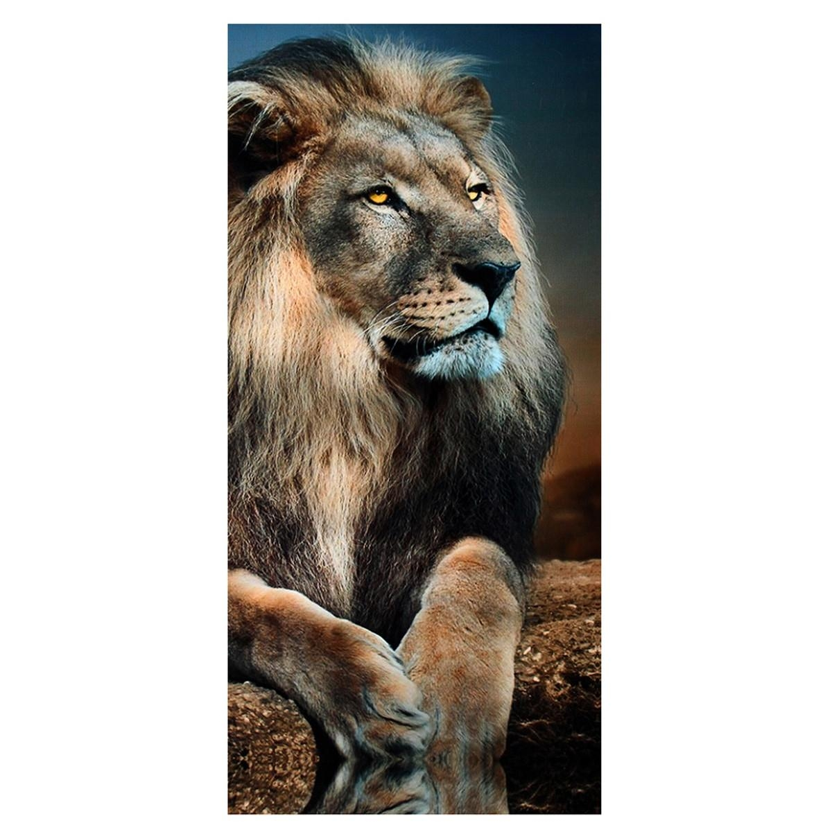 5Pcs Frameless Canvas Print Sitting Lion Wall Art Painting Picture In Lion Wall Art (Image 3 of 20)