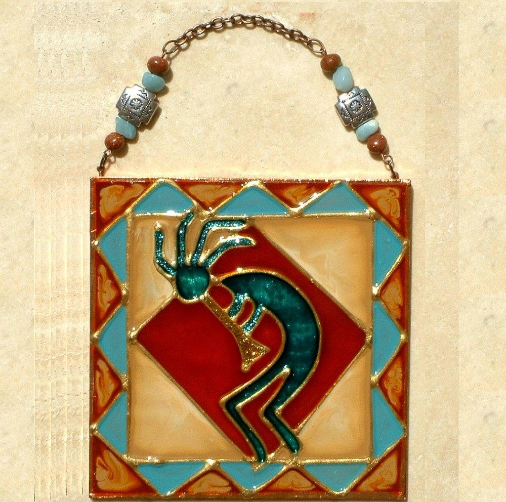 6X6 Kokopelli Art Decor Stained Glass Panel With Beadwork inside Kokopelli Metal Wall Art