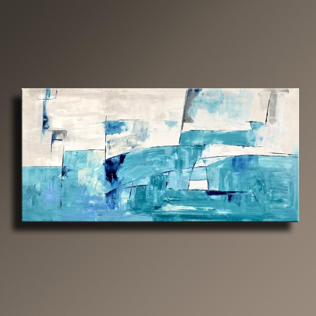 75 Large Abstract Painting White Blue Turquoise Gray Intended For Blue And Cream Wall Art (View 20 of 20)