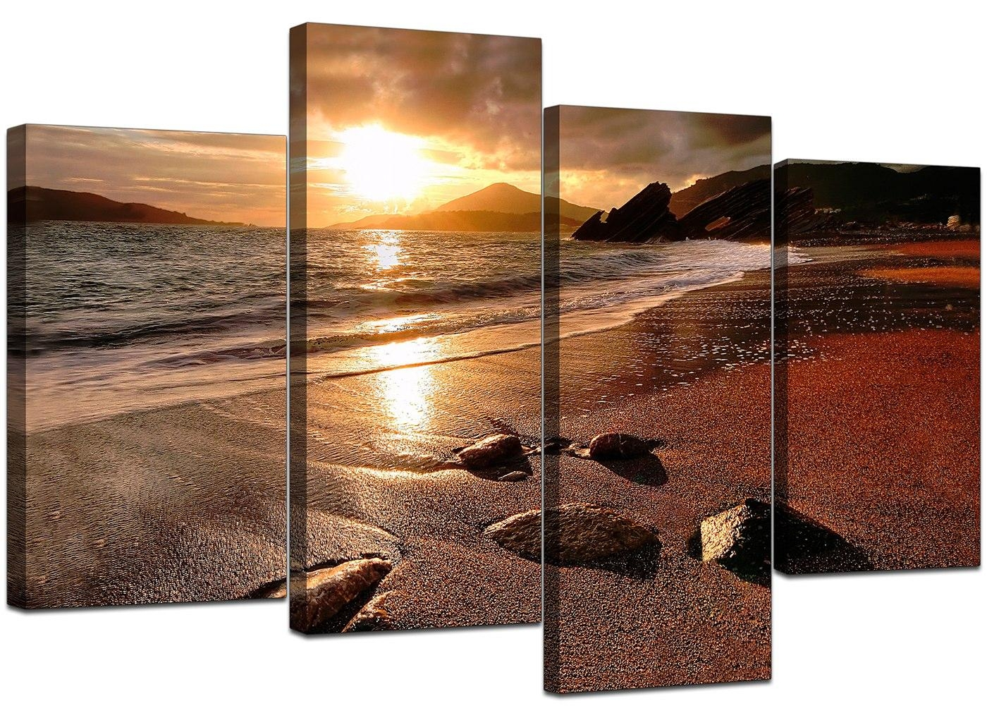 85%off Large Sunset Beach Canvas Wall Art Pictures Living Room within Big Canvas Wall Art