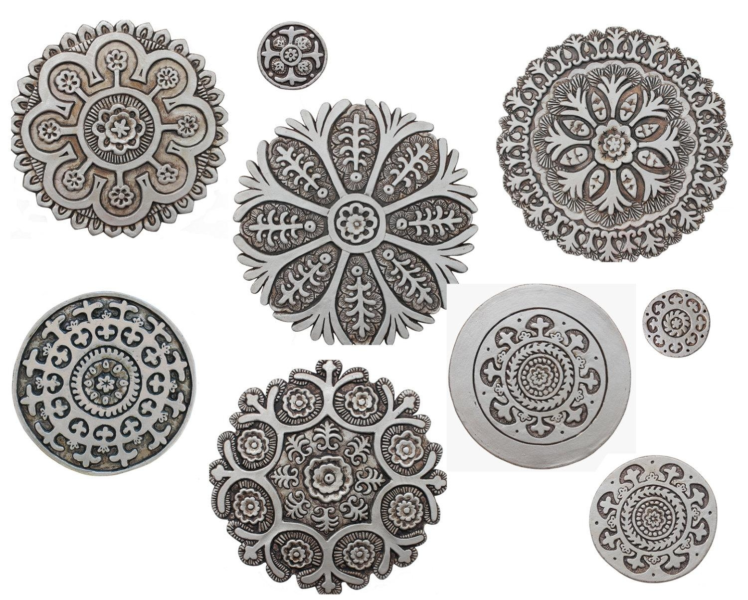 9 Circle Wall Art With Suzani Designs Painted In Aged Silver for Ceramic Tile Wall Art