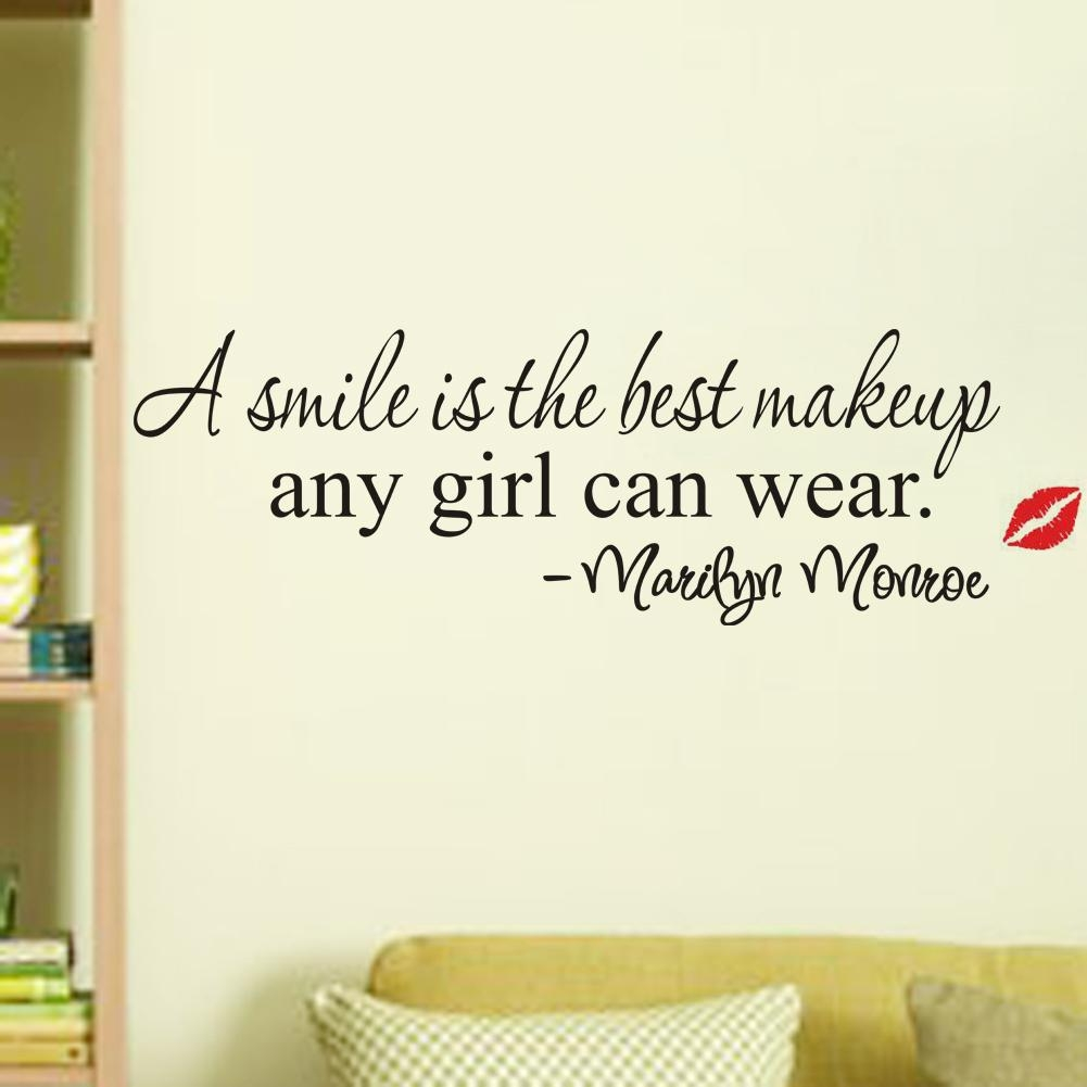 A Smile Is The Best Makeup Marilyn Monroe Quotes Wall Stickers Inside Marilyn Monroe Wall Art Quotes (View 3 of 20)