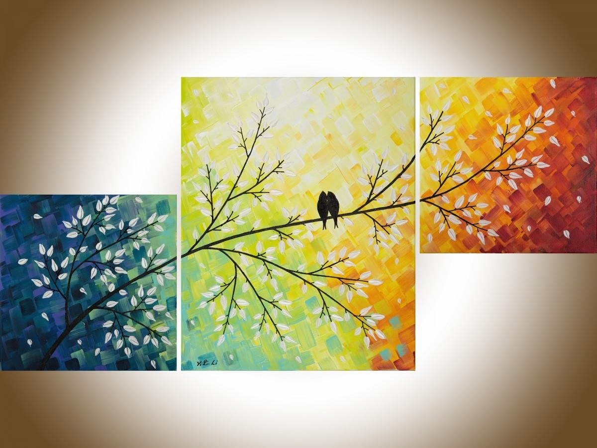 """A Warm Winterqiqigallery 40""""x20"""" Yellow Art Colorful Abstract With Regard To Canvas Wall Art Sets Of (View 19 of 20)"""
