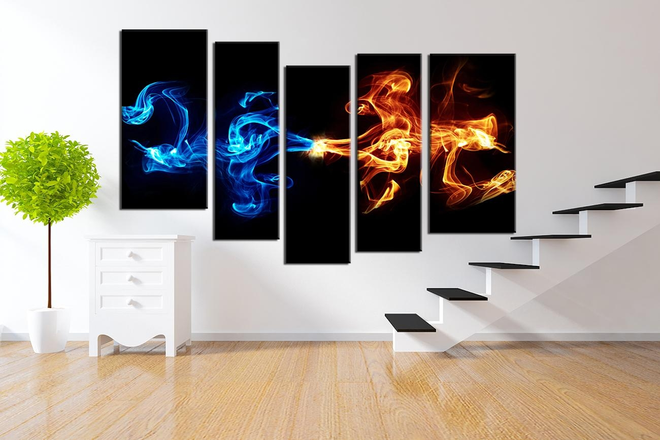 Abstract 5 Piece Smoke Canvas Wall Art » Gadget Flow For Abstract Canvas Wall Art (Image 4 of 20)