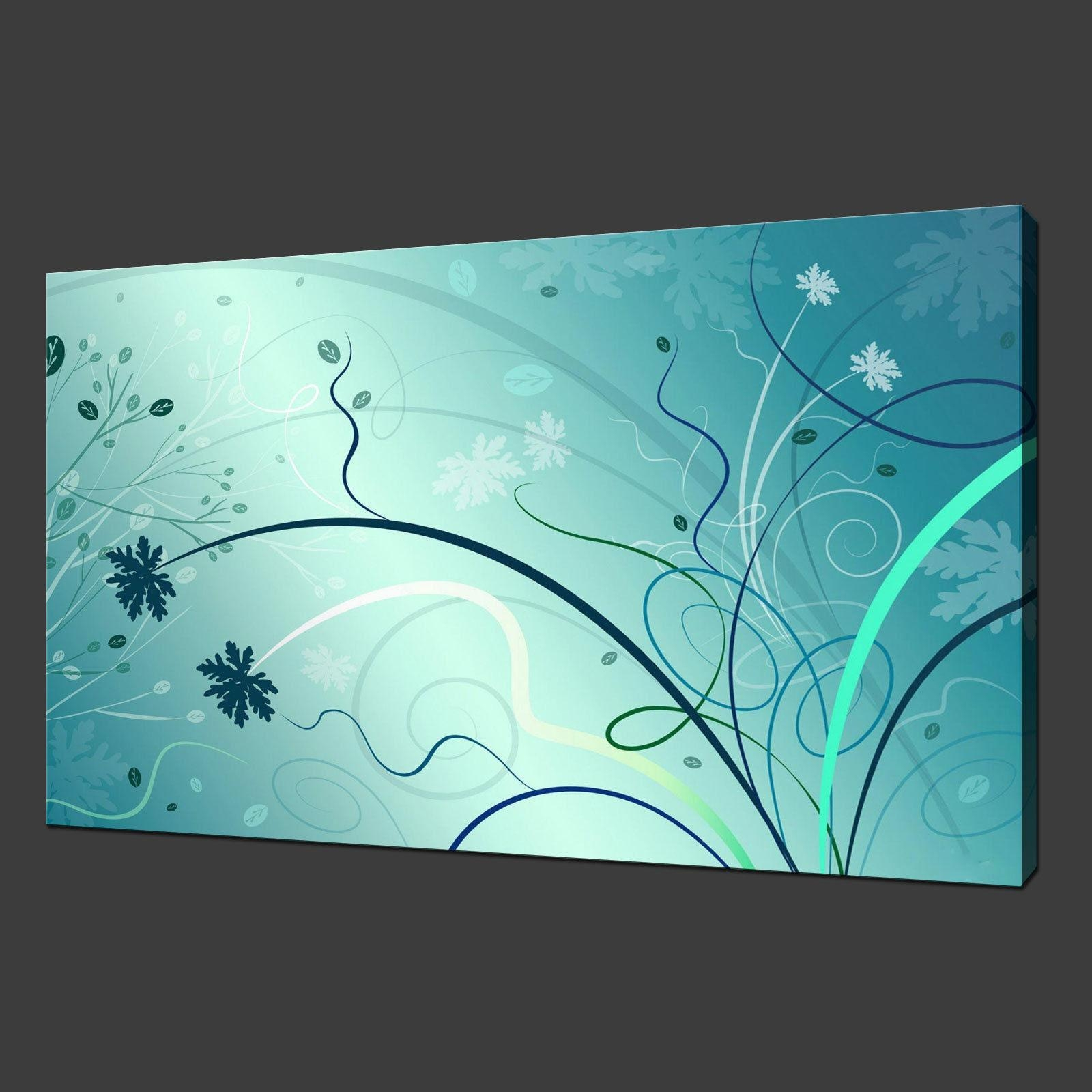 Abstract Archives – Canvas Print Art Pertaining To Teal Flower Canvas Wall Art (Image 2 of 20)