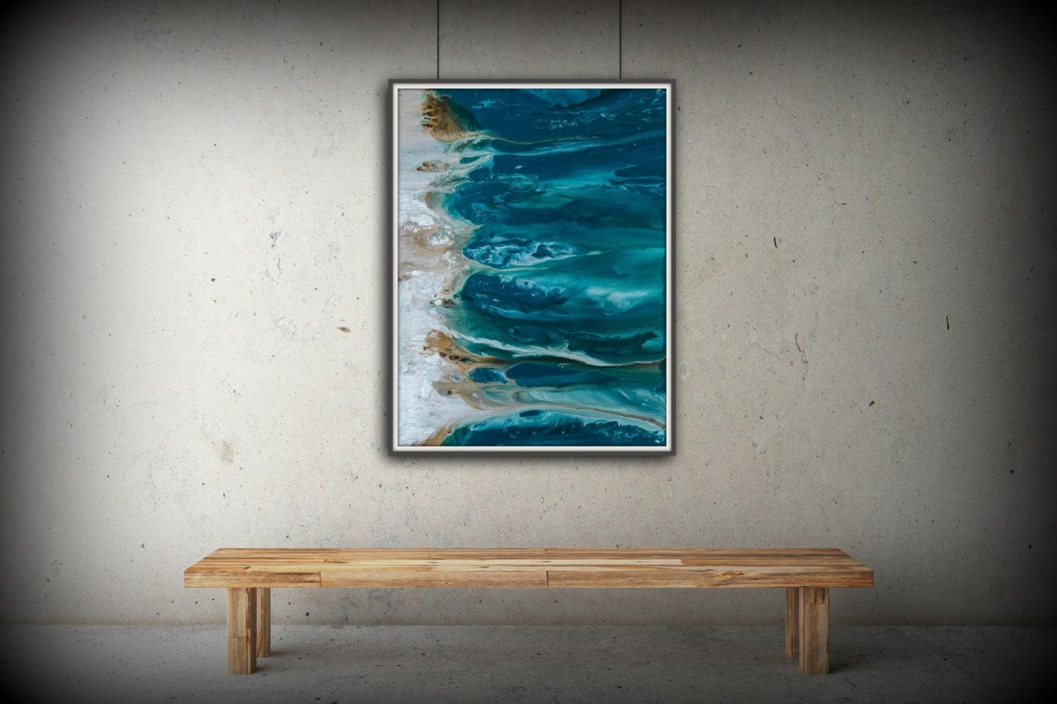 Abstract Art Blue Wall Art Coastal Landscape Giclee Large With Large Teal Wall Art (Image 3 of 20)
