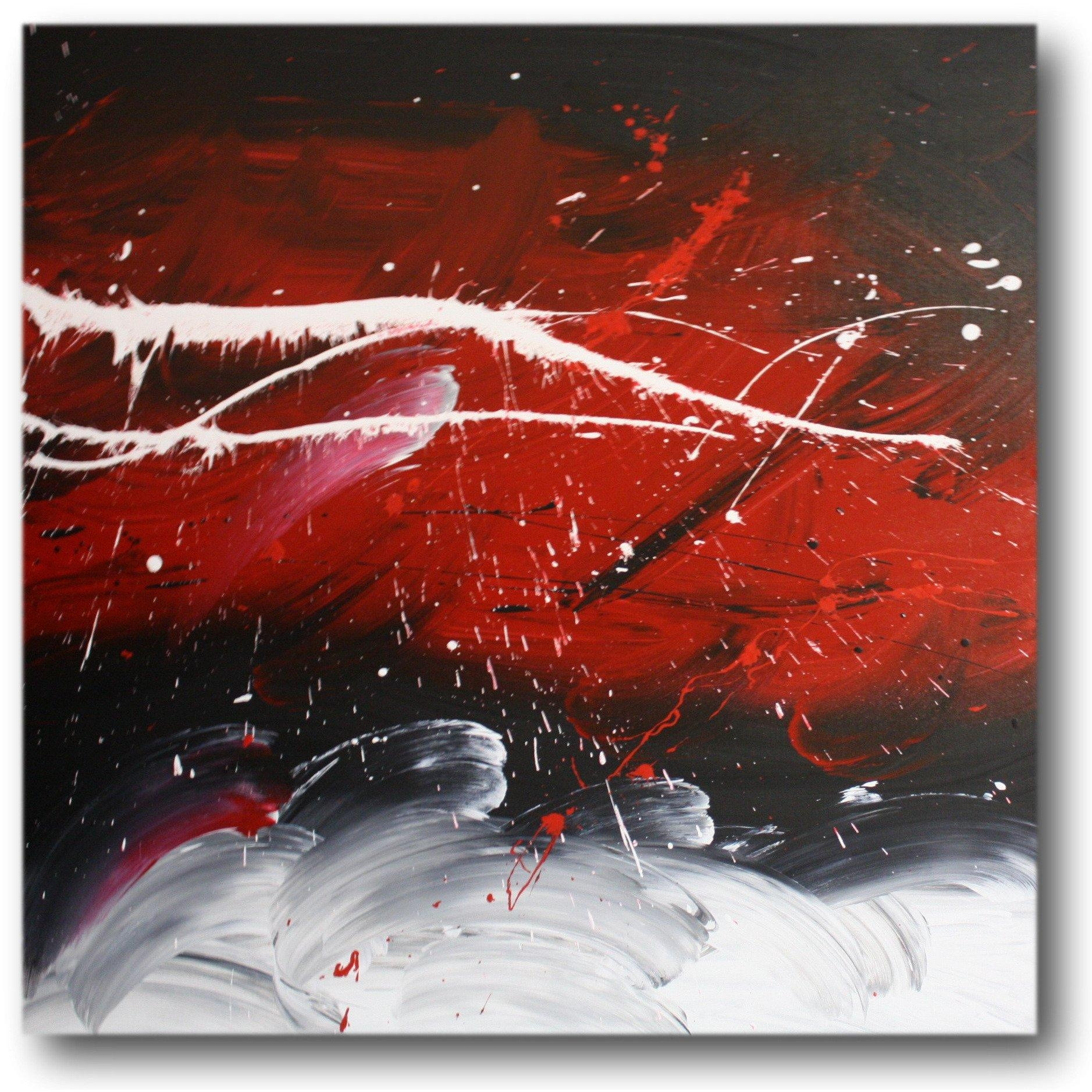 Abstract Art Canvas Painting White Red Black (Image 3 of 20)