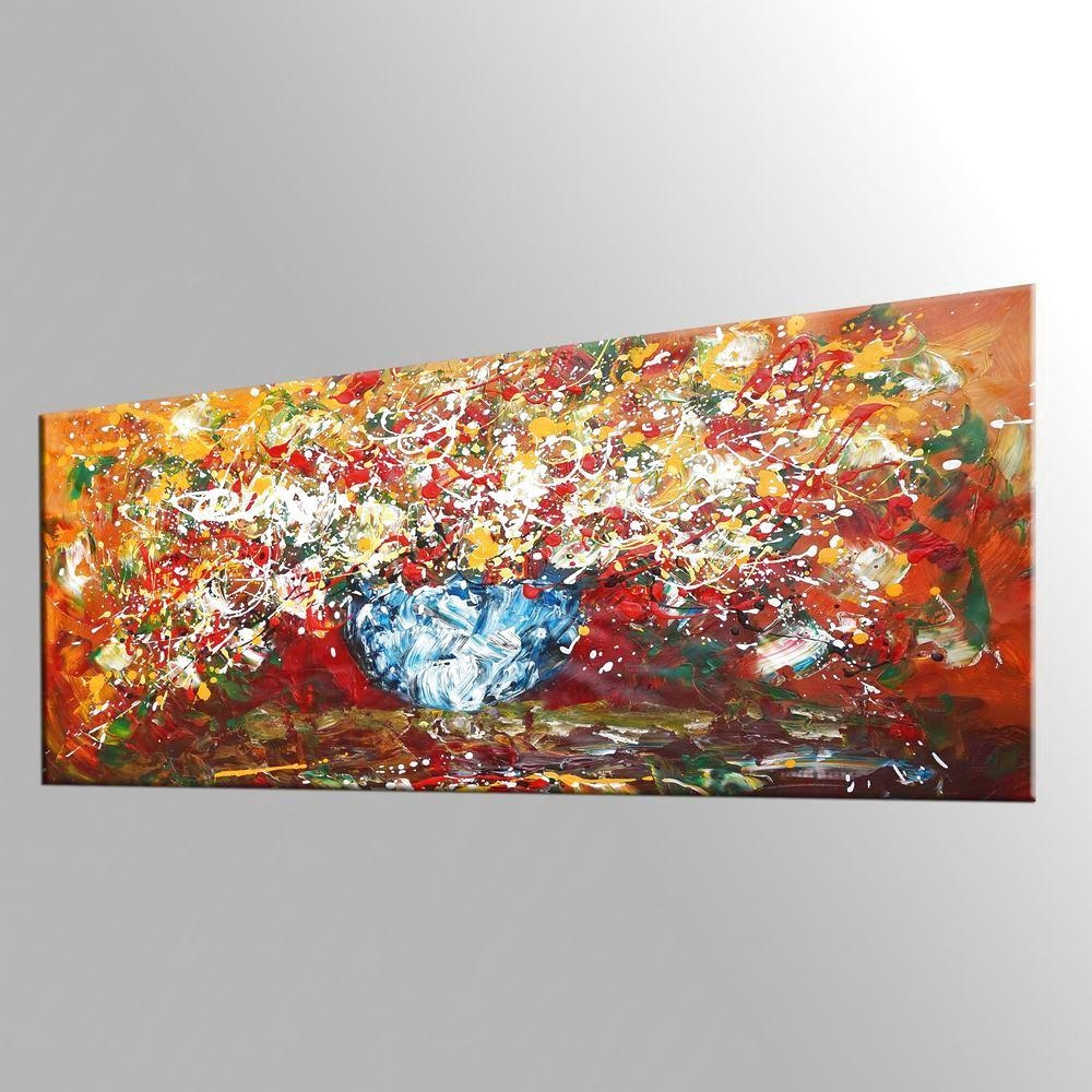Abstract Art, Kitchen Wall Art, Large Painting, Flower Painting Pertaining To Flower Wall Art Canvas (Image 2 of 20)