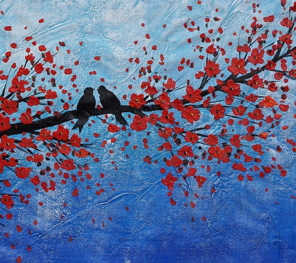 Abstract Art, Oil Painting, Wall Art, Love Birds Painting, Canvas Inside Oil Painting Wall Art On Canvas (View 18 of 20)