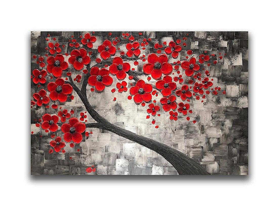 Abstract Art Paintings Original Abstract Wall Artzarasshop With Regard To Red Cherry Blossom Wall Art (View 3 of 20)