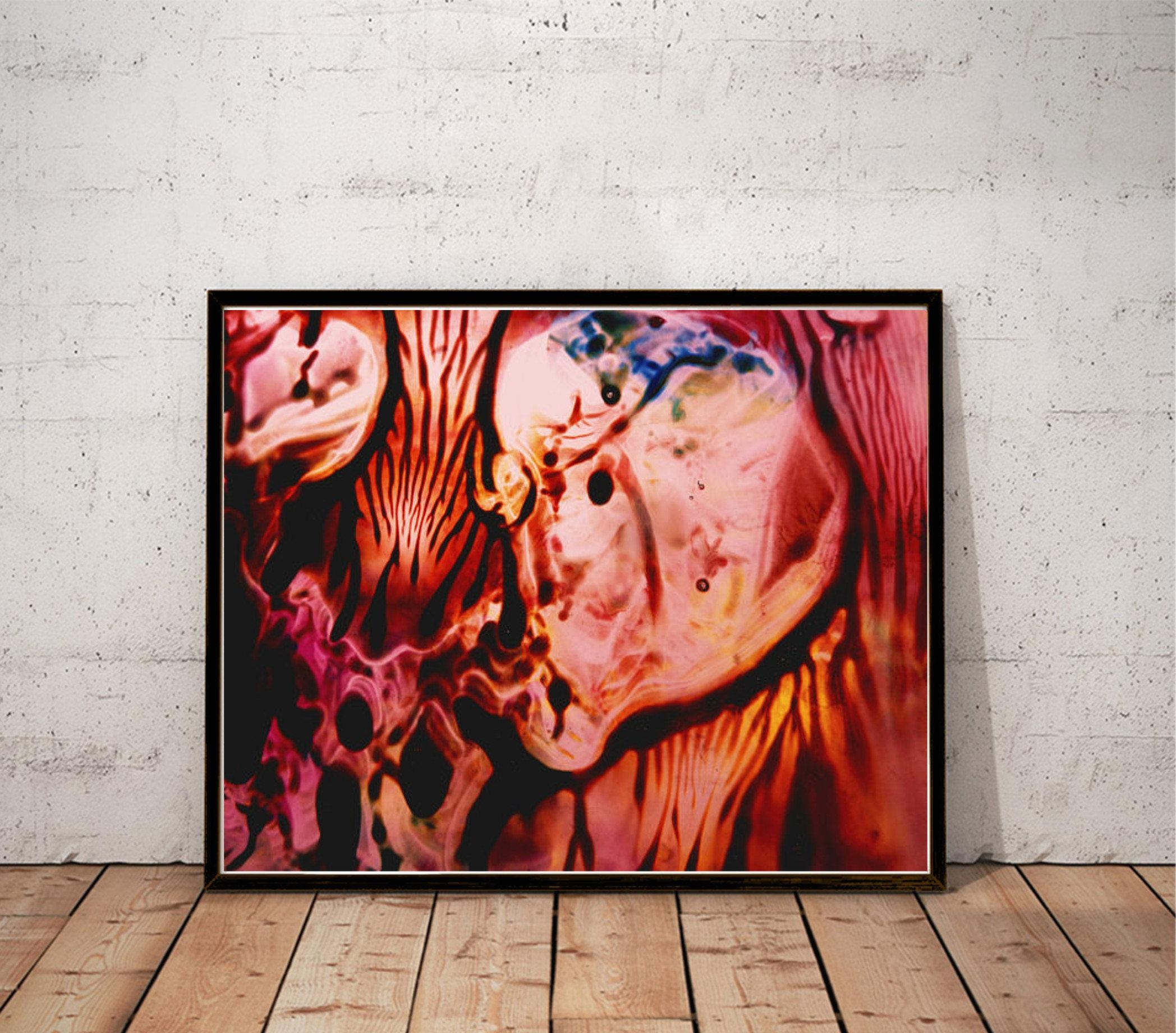 Abstract Art Print / Burgundy Red Pink Salmon Large Wall Art / With Burgundy Wall Art (Image 2 of 20)