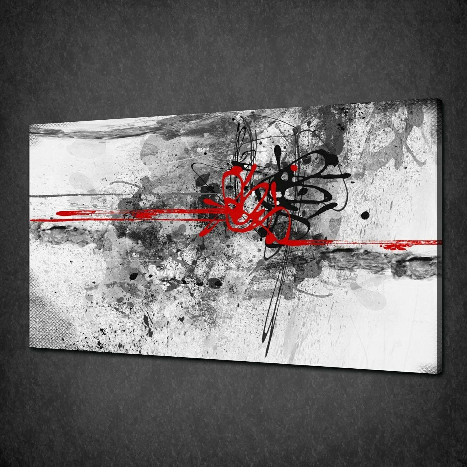 Abstract Black Red Paint Splash Modern Canvas Print Picture Wall With Uk Contemporary Wall Art (View 11 of 20)