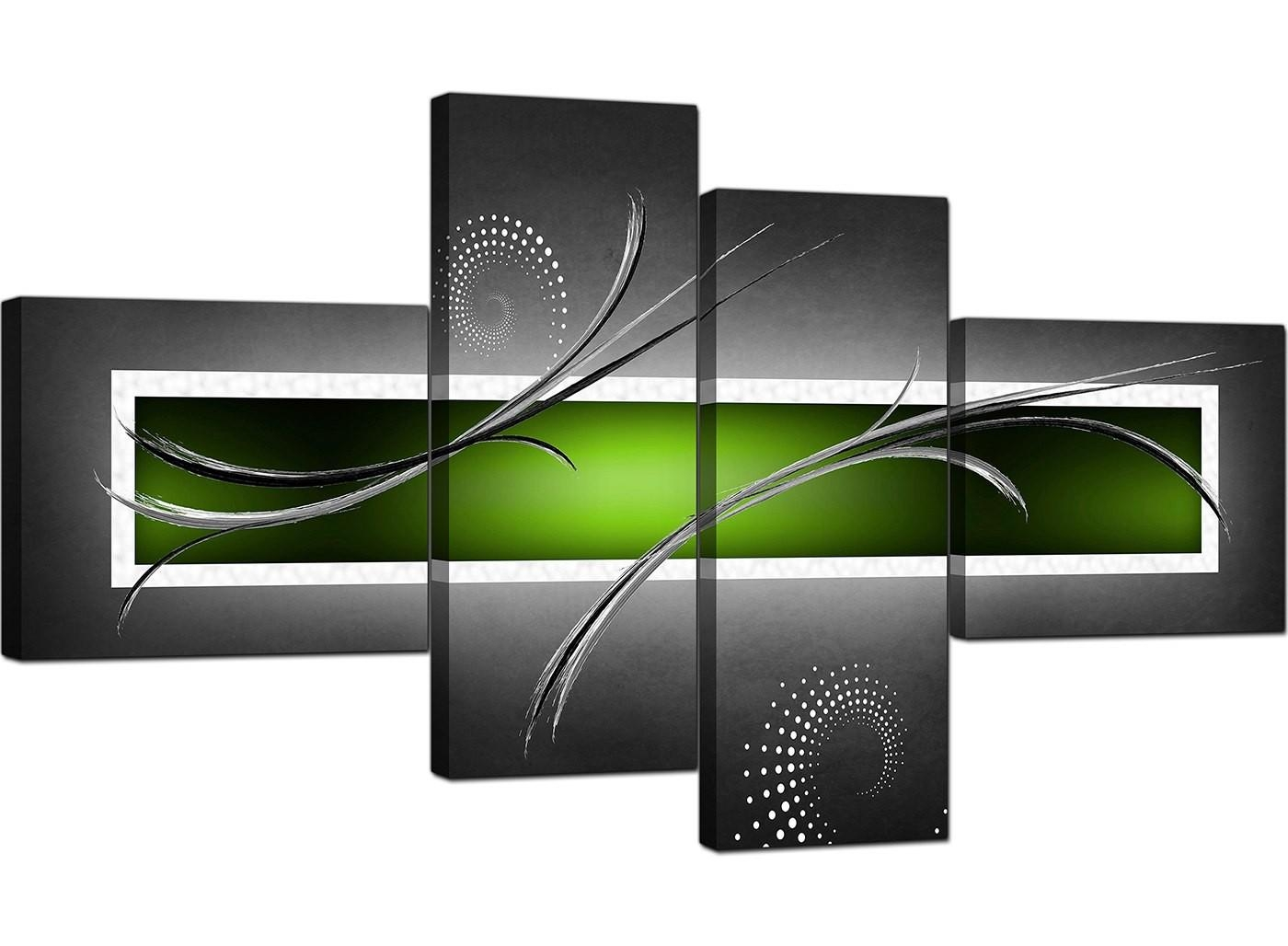 Abstract Canvas Pictures In Green For Your Living Room – 4 Panel Pertaining To Lime Green Wall Art (Image 3 of 20)