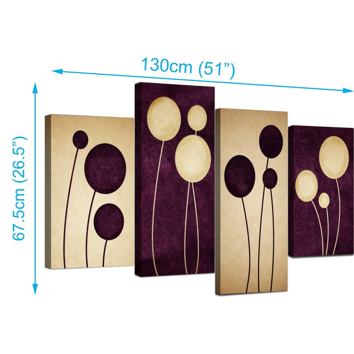 Abstract Canvas Prints In Purple For Your Living Room – 4 Panel With Regard To Purple Canvas Wall Art (Image 1 of 20)