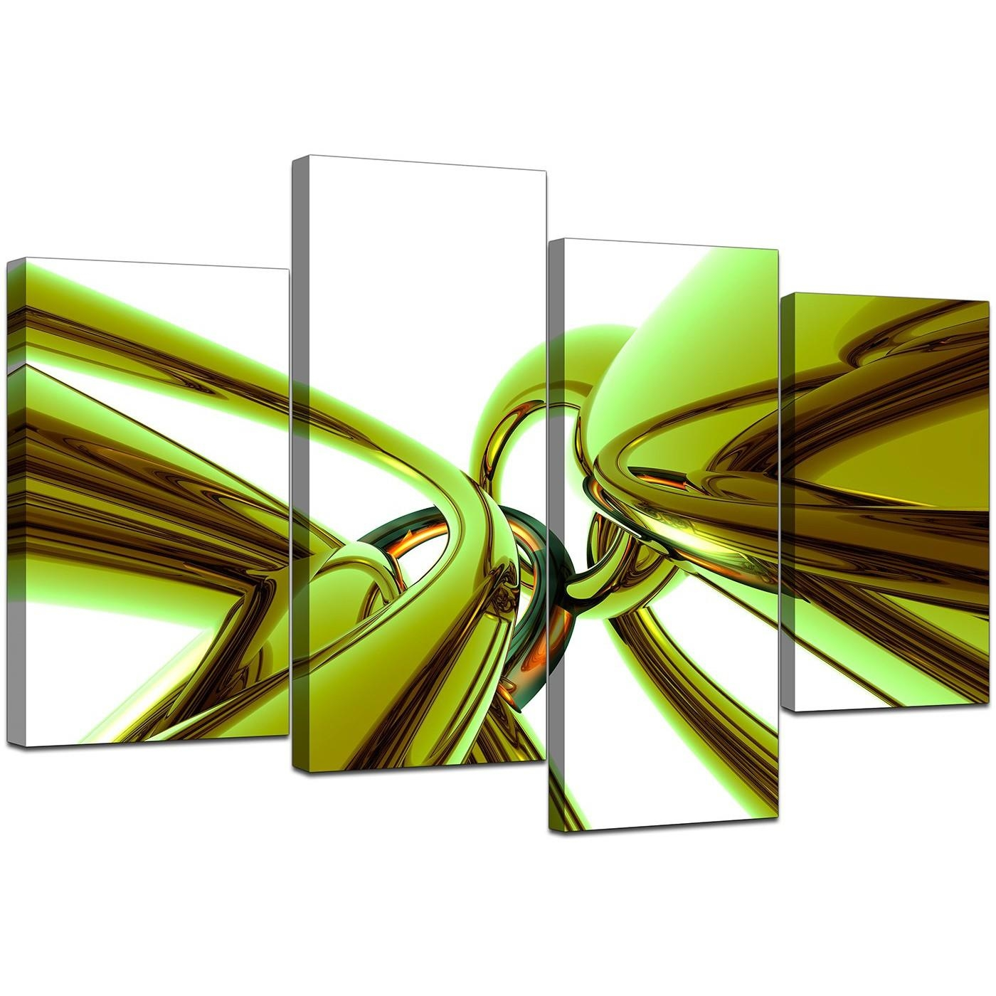 Abstract Canvas Wall Art In Green For Your Living Room – Set Of 4 Regarding Green Canvas Wall Art (Image 4 of 20)