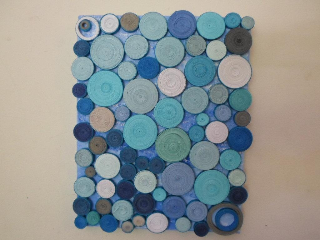 Abstract Circles Paper Sculpture Original Mixed Media Blue With Regard To 3D Circle Wall Art (Image 4 of 20)