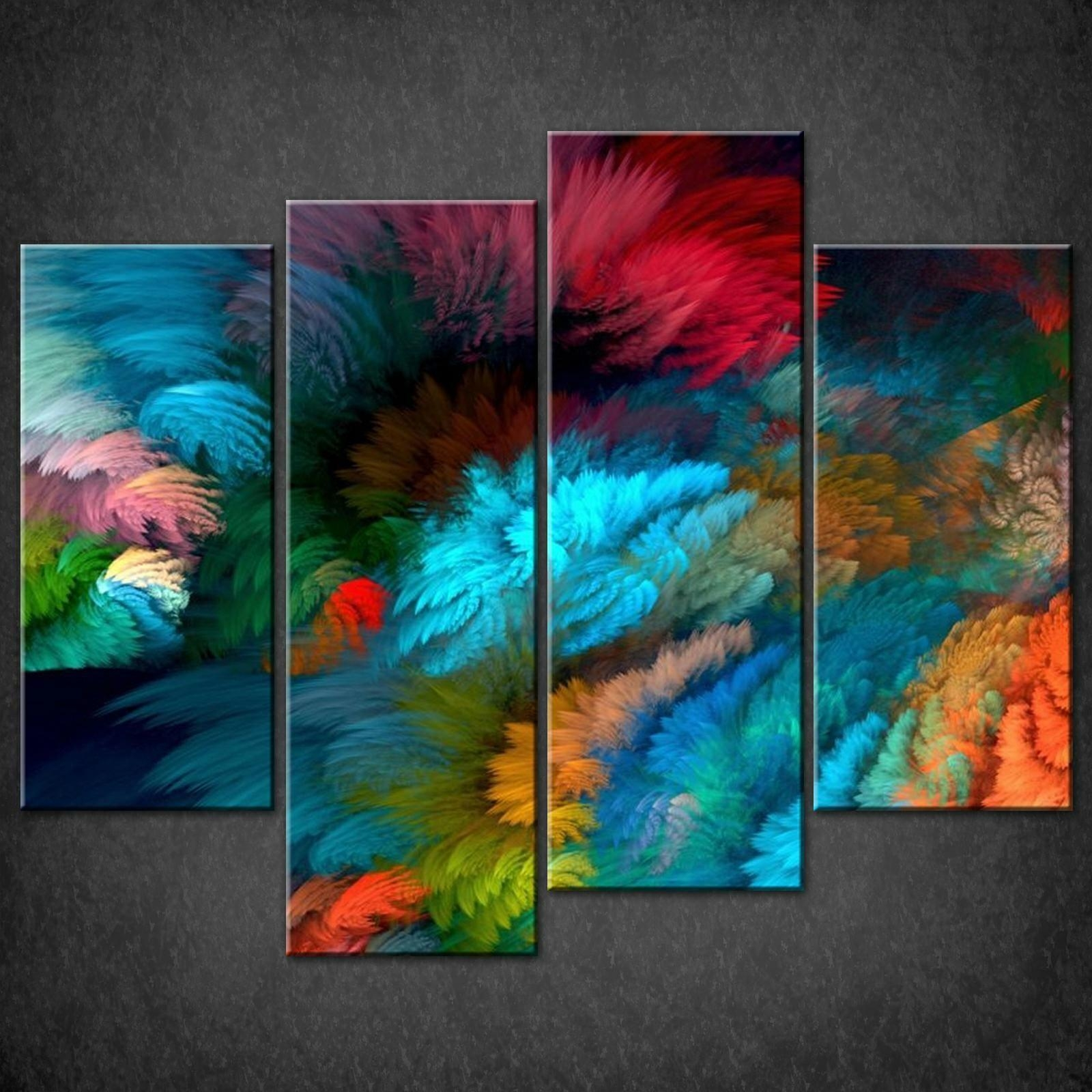 Abstract Colourful Split Canvas Wall Art Pictures Prints Larger In Abstract Canvas Wall Art (View 15 of 20)