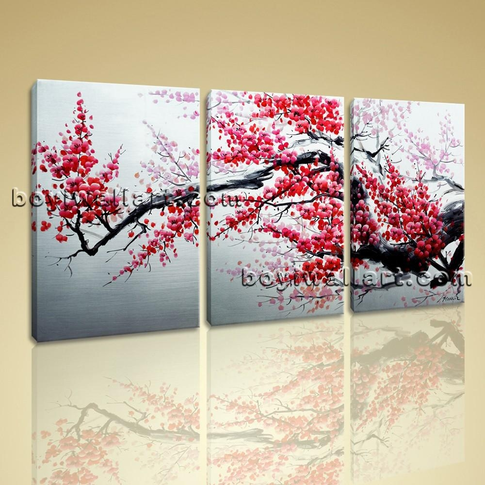 Abstract Floral Painting Plum Blossom Tree On Canvas Art Print Framed Pertaining To Plum Wall Art (Image 1 of 20)