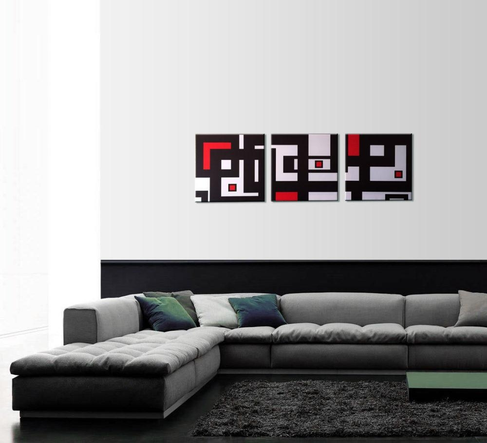 Abstract Geometry 3 Piece Wall Art In 3 Piece Abstract Wall Art (Image 2 of 20)