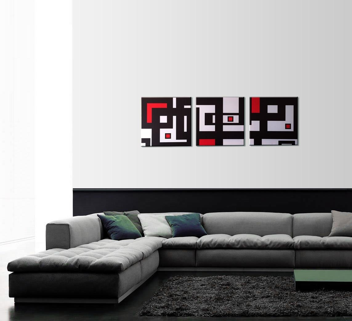 Abstract Geometry 3 Piece Wall Art Throughout Black And White Wall Art With Red (Image 5 of 20)