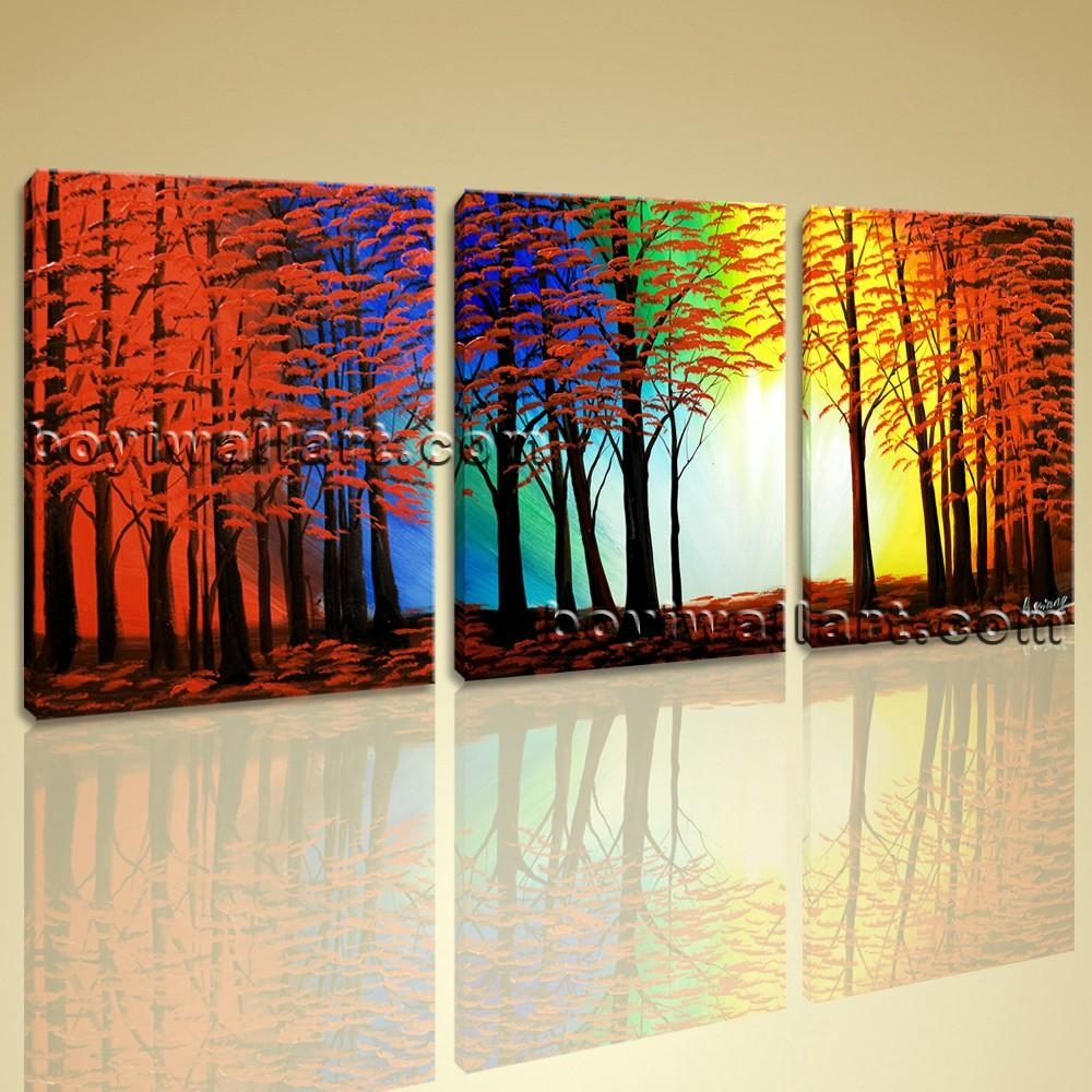 Abstract Landscape Painting Print On Canvas Original Wall Art Framed Intended For Oversized Abstract Wall Art (Image 2 of 20)