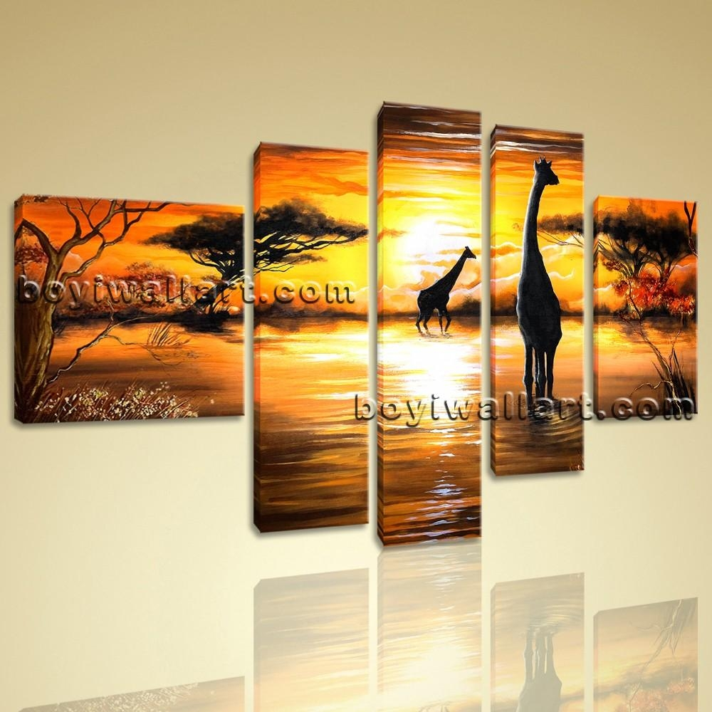 Abstract Landscape Wall Art Print On Canvas Hd Giraffe Sunset In Huge Wall Art (Image 5 of 20)