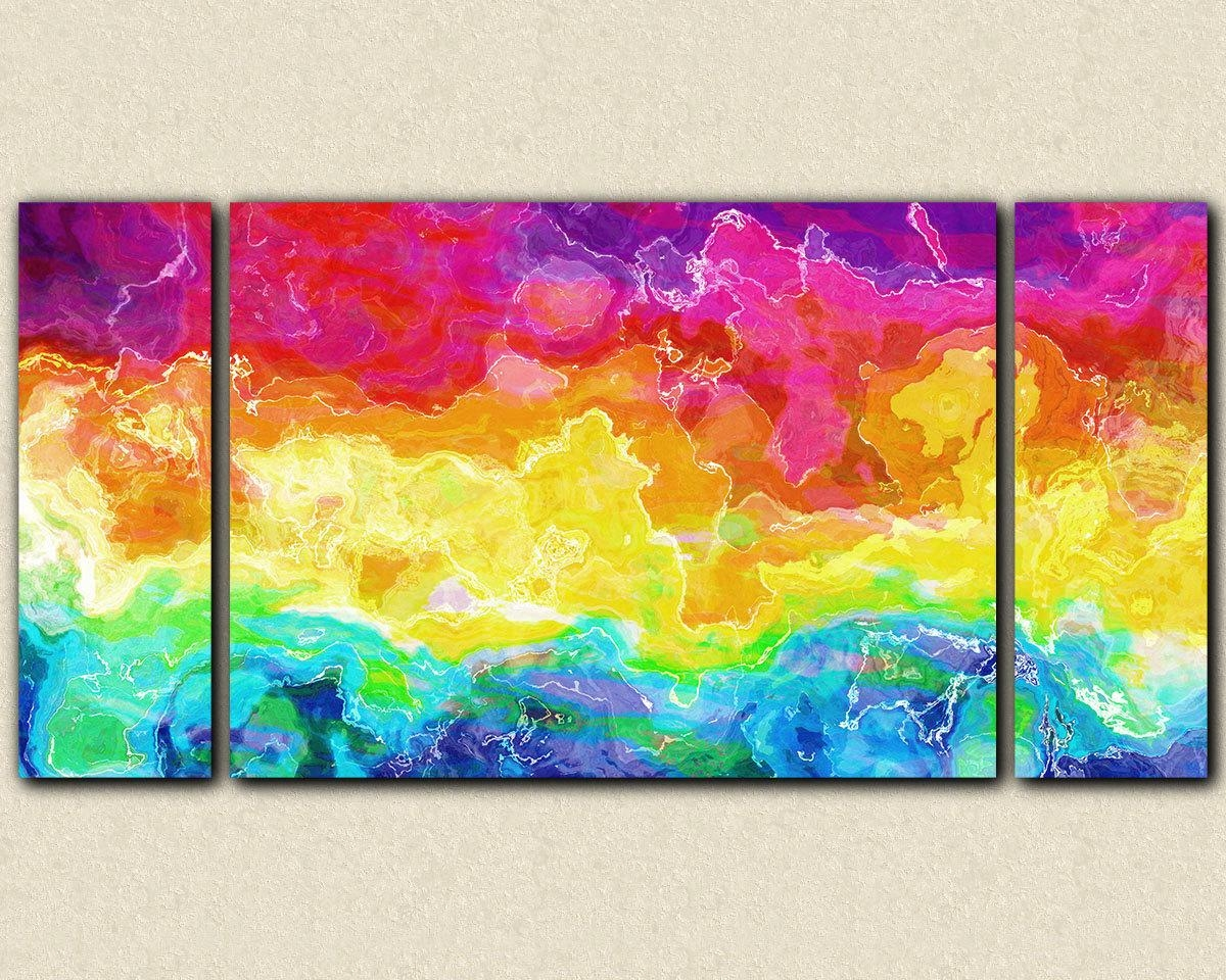 Abstract Large Wall Art Stretched Canvas Print 30X60 To 40X78 Throughout Colorful Abstract Wall Art (Image 3 of 20)