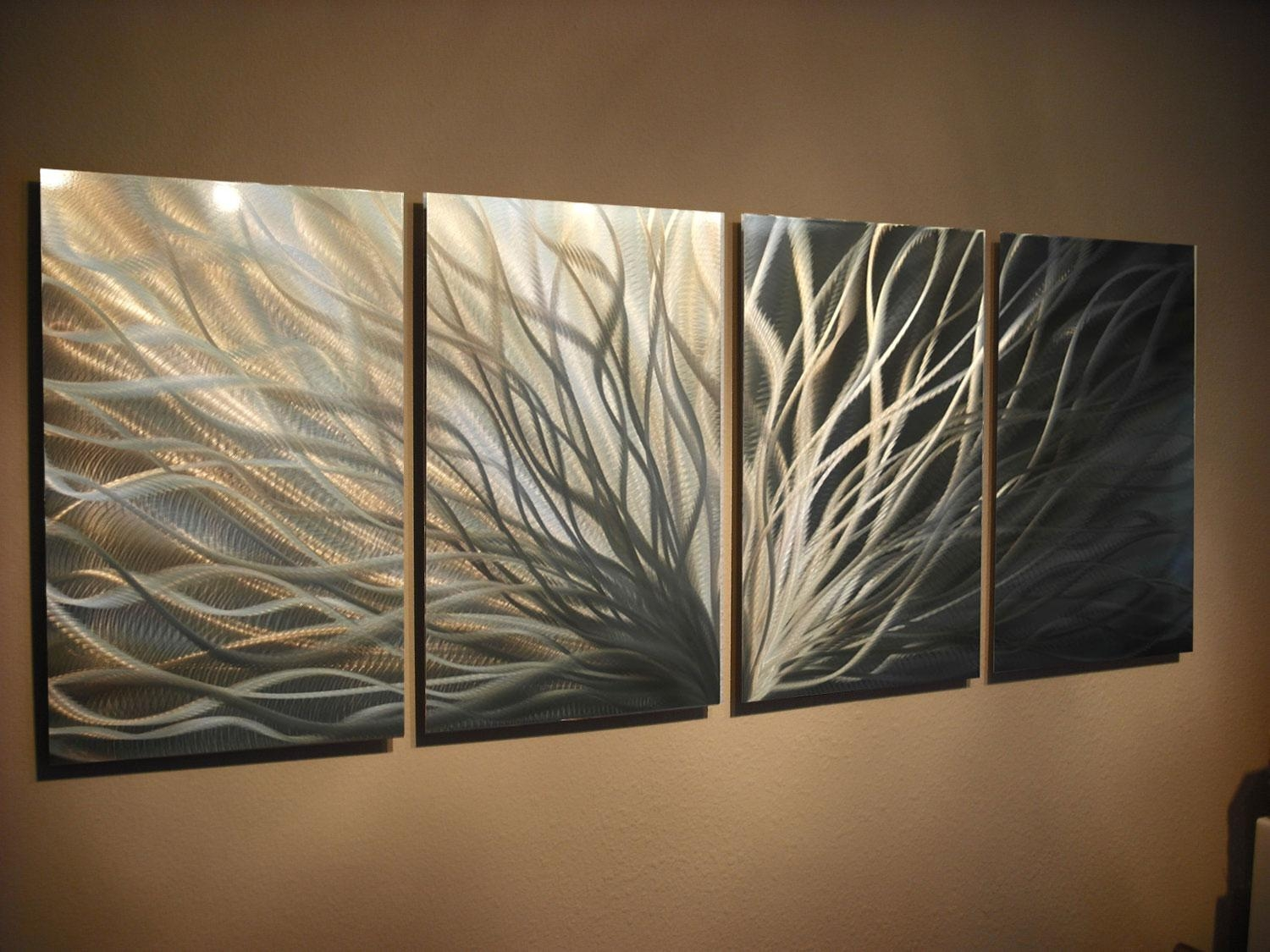 Abstract Metal Wall Art Radiance Gold Silver Contemporary Modern Pertaining To Silver And Gold Wall Art (View 9 of 20)