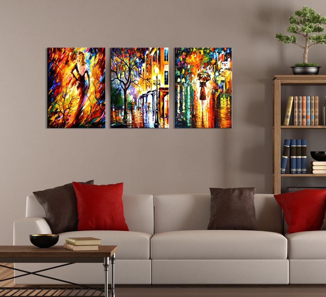 Abstract Night City Painting 3-Piece Wall Art regarding 3 Piece Modern Wall Art
