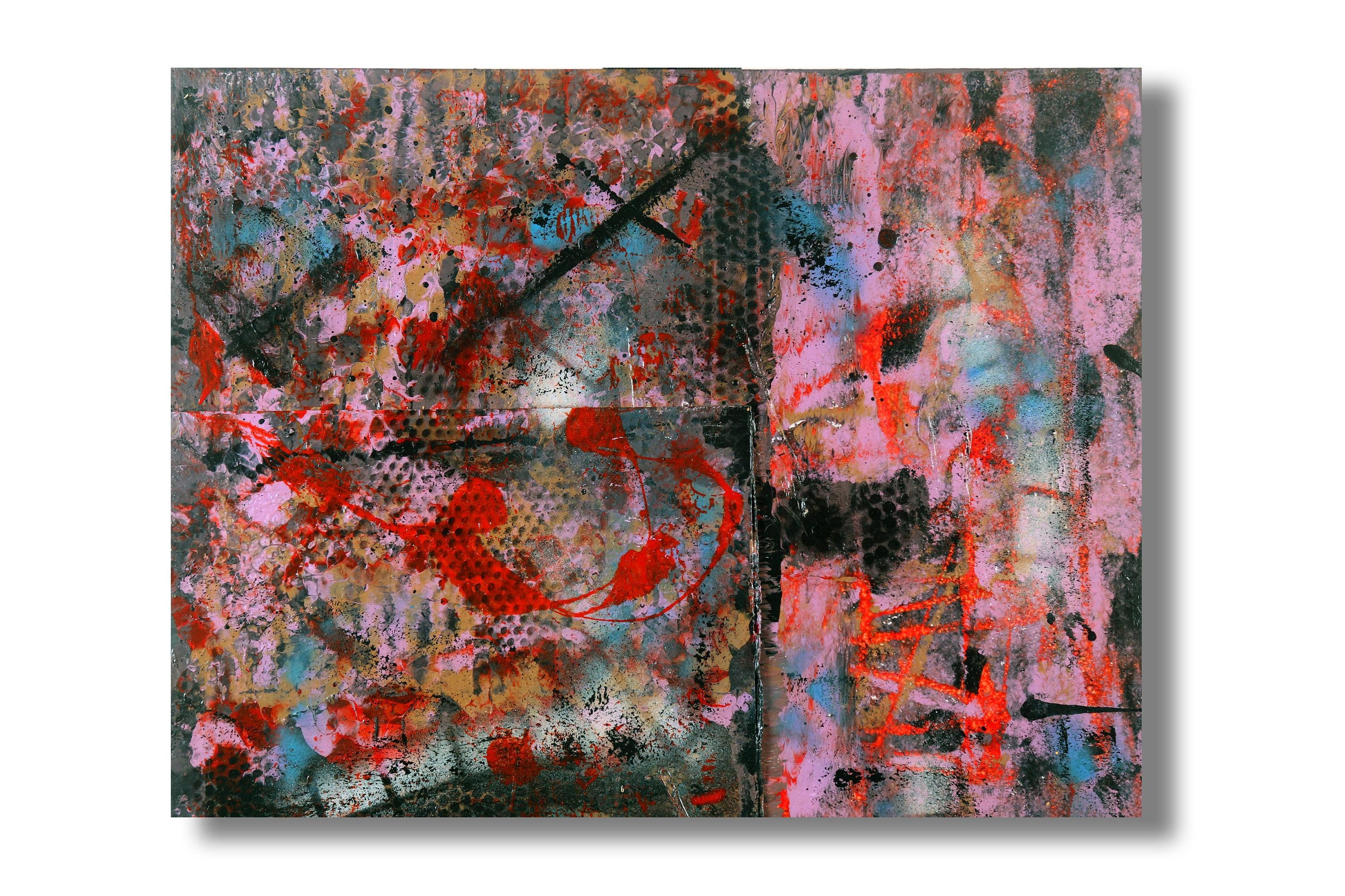 Abstract Original Raw Vibrant Painting Wall Art On Wood Lc12 20X16X (Image 3 of 20)