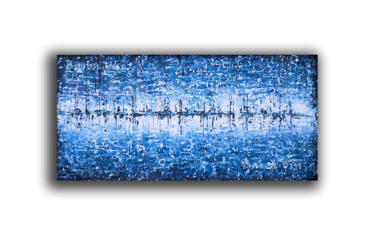 Abstract Painting Acrylic Art Blue Wall Art Home Office Regarding Blue Wall Art (View 2 of 20)