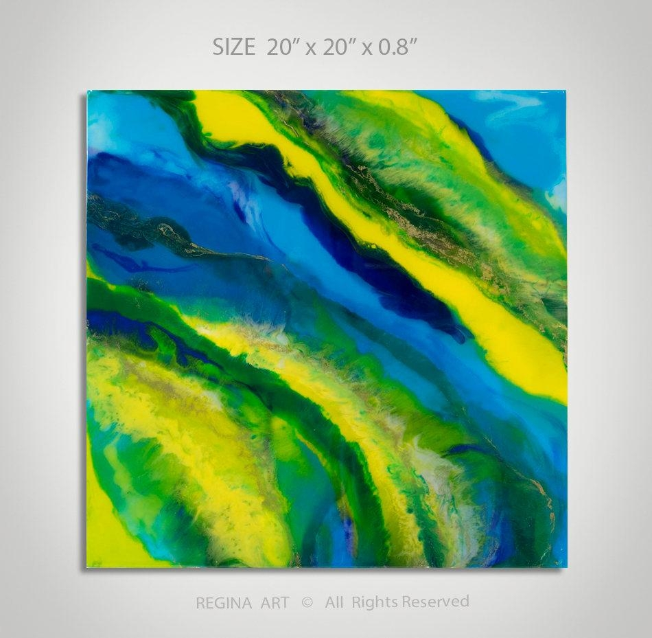 Abstract Painting Blue Yellow Green Acrylic Painting Wall Art Inside Yellow And Blue Wall Art (Image 3 of 20)