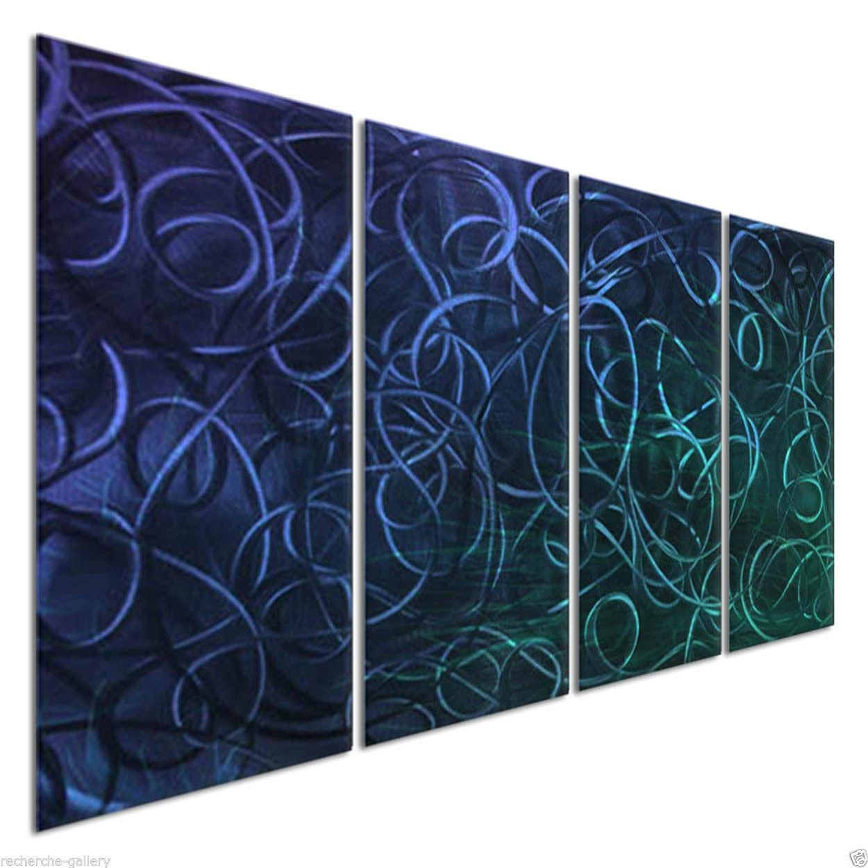 Abstract Painting On Metal Wall Sculpture Art Blue Pandemonium Iii With Ash Carl Metal Art (Image 1 of 20)