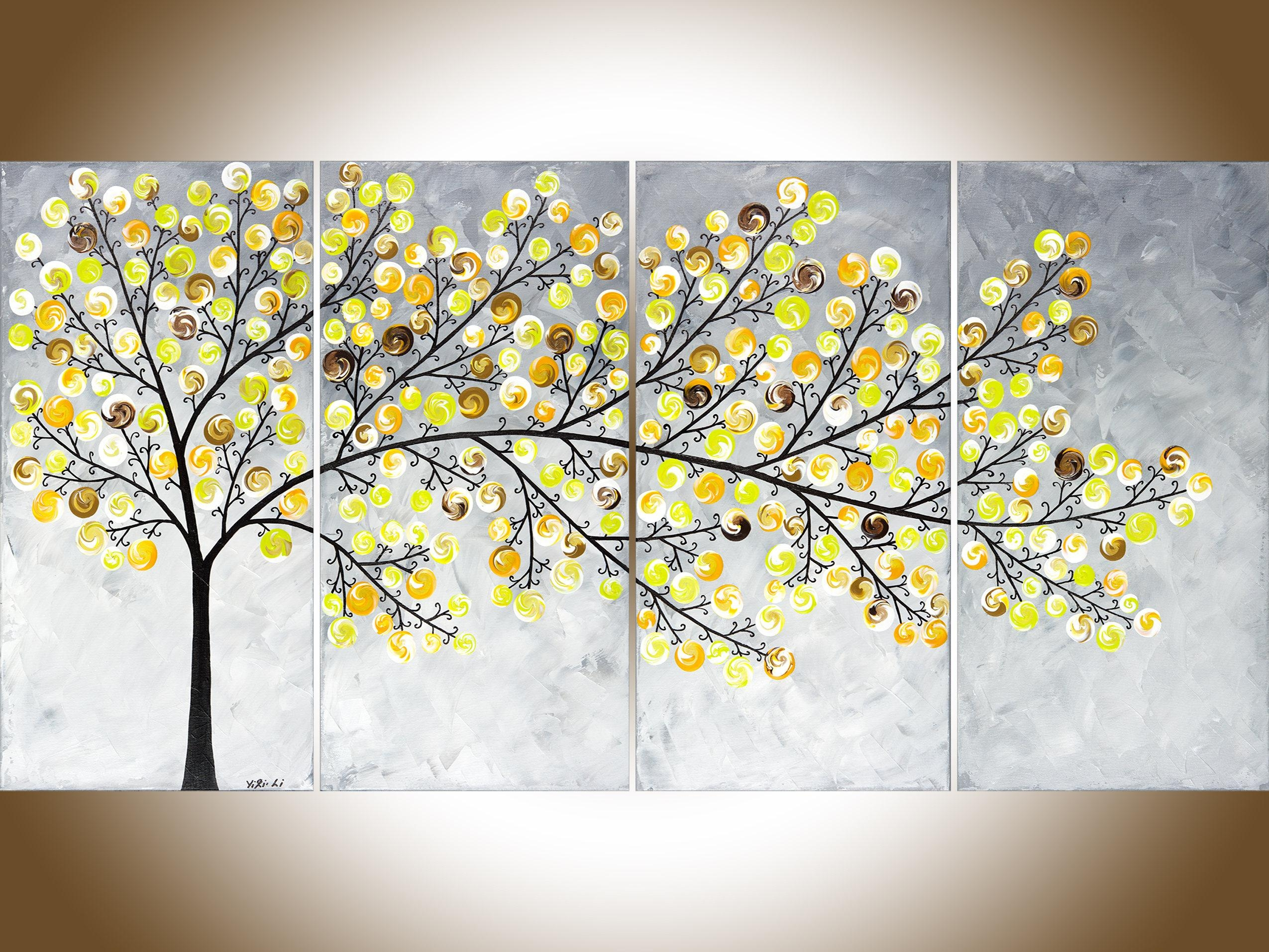 Abstract Painting Yellow Grey Painting Large Wall Art Modern Regarding Yellow Grey Wall Art (Image 1 of 20)