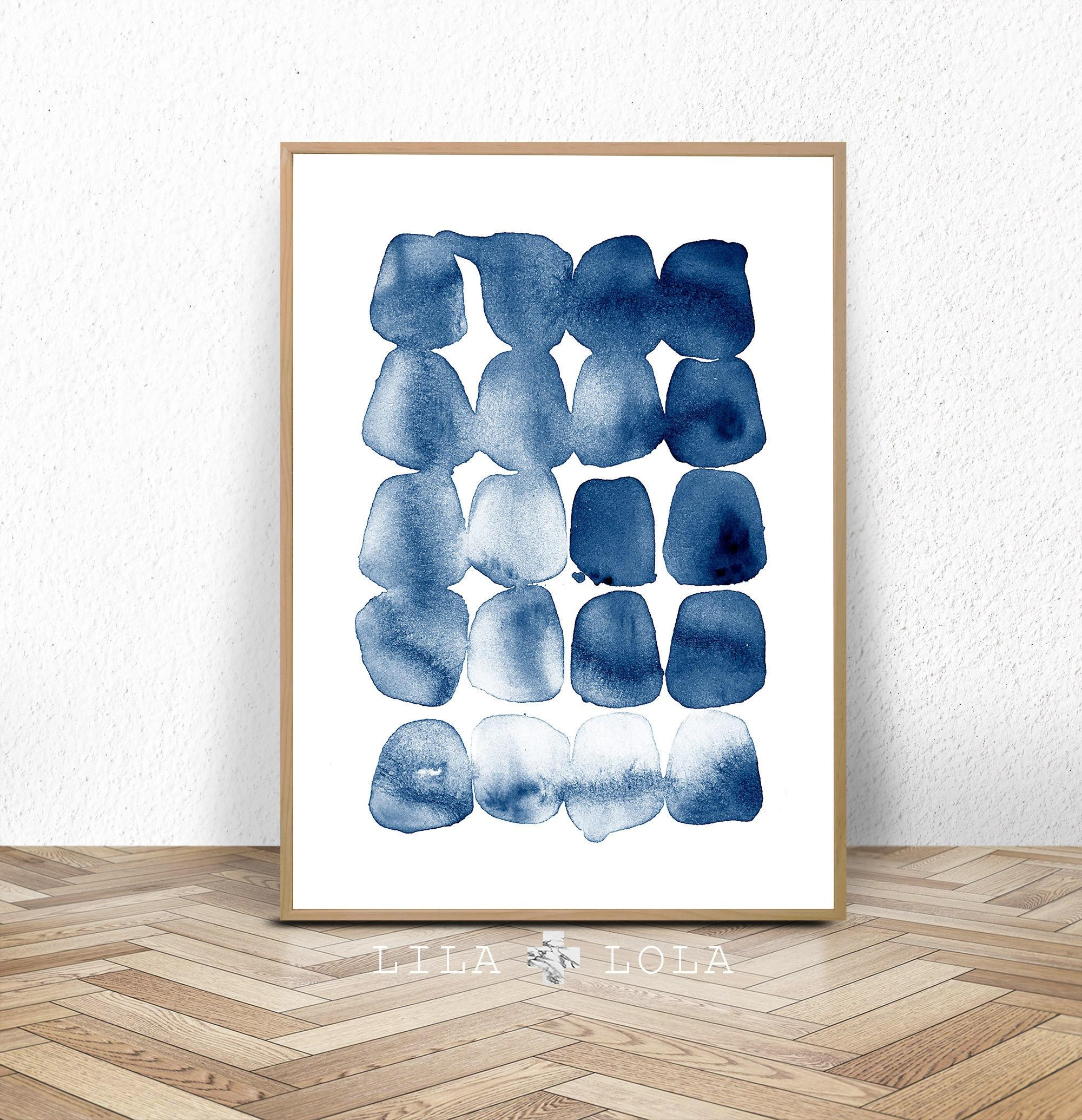 Abstract Print Watercolour Wall Art Modern Minimalist For Dark Blue Wall Art (Image 2 of 20)