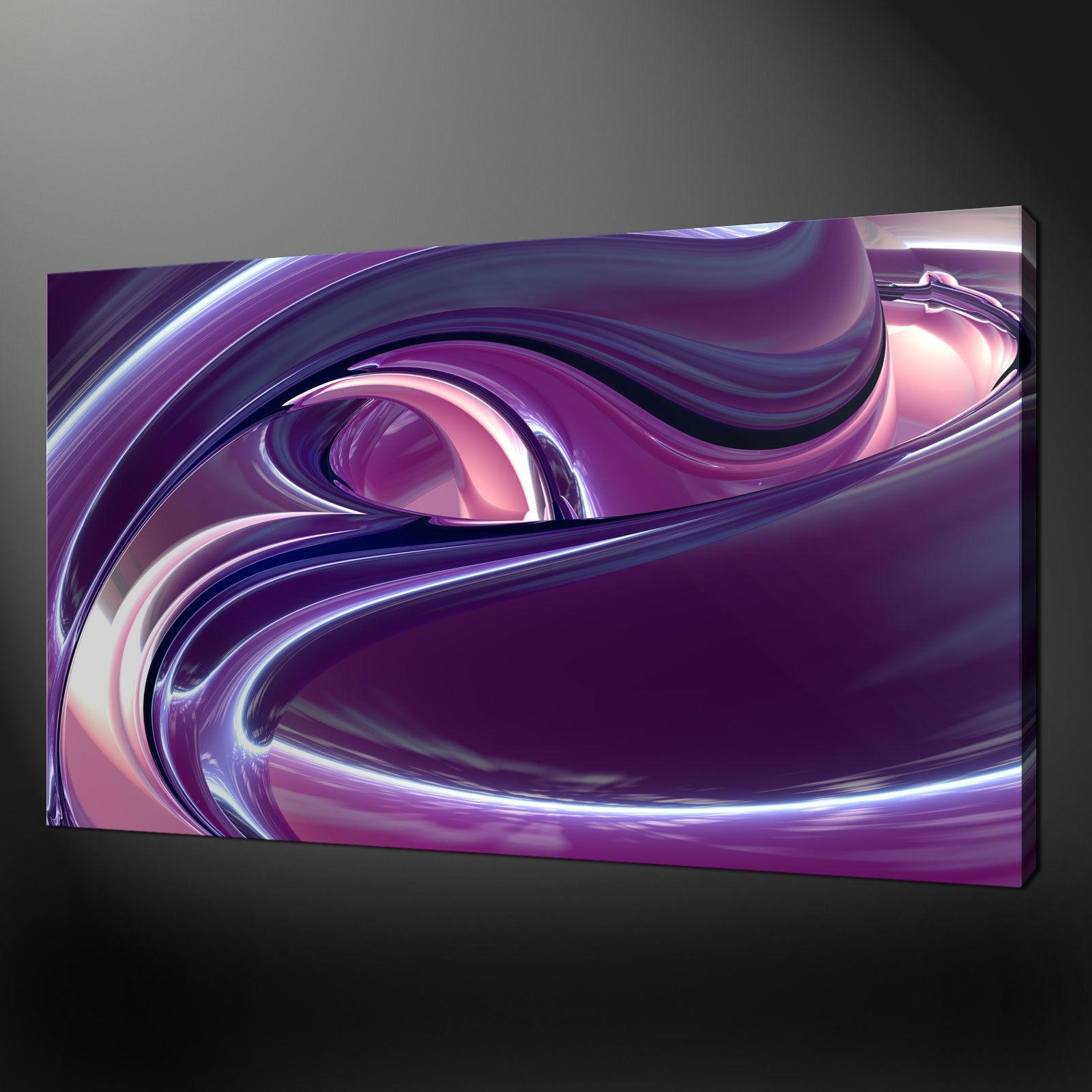 "Abstract Purple Pink Waves Canvas Wall Art Pictures Prints 20""x16 For Purple Wall Art Canvas (Image 4 of 20)"