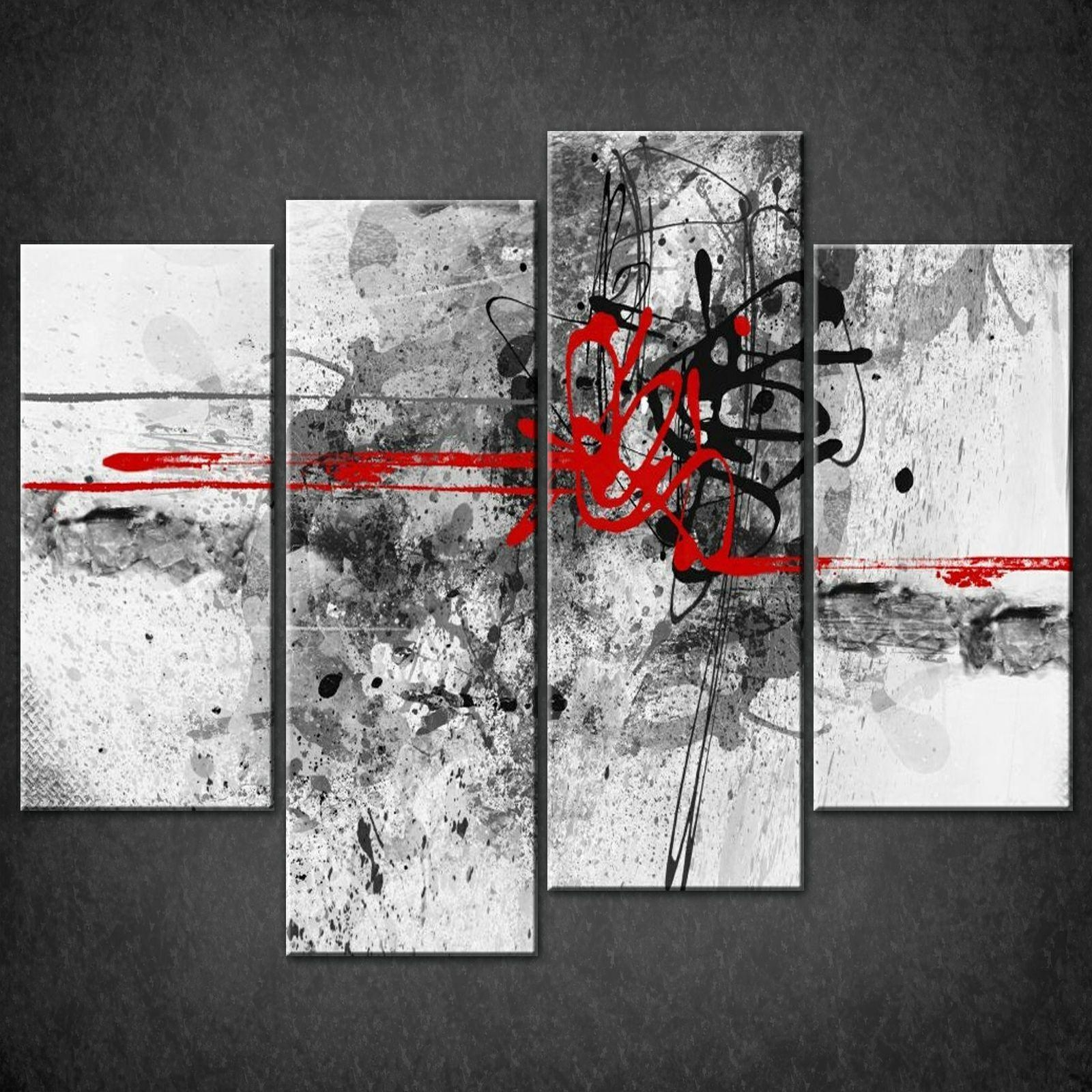 Abstract Red Lines Split Canvas Wall Art Pictures Prints Larger For Split Wall Art (Image 1 of 20)