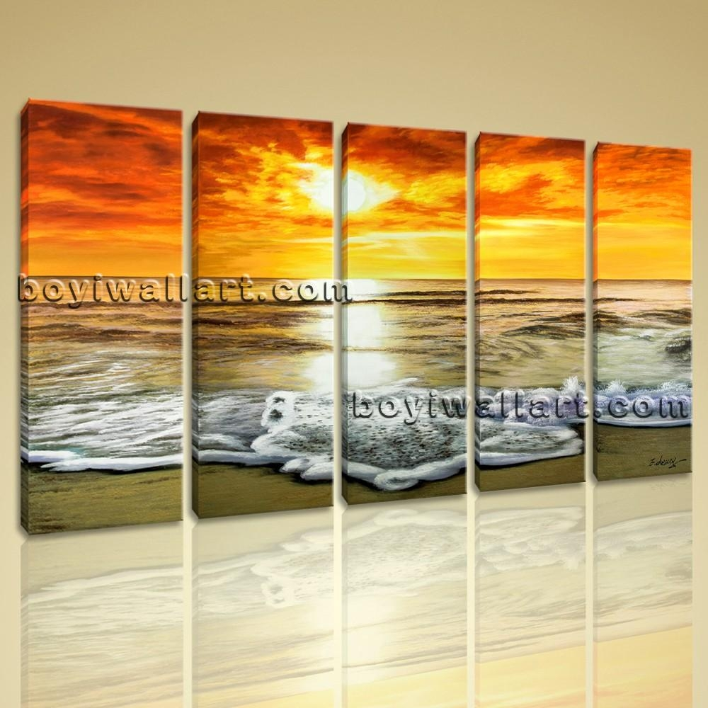 Abstract Sunset Glow Landscape Beach Ocean Painting Print Canvas Inside Beach Wall Art For Bedroom (Image 1 of 20)
