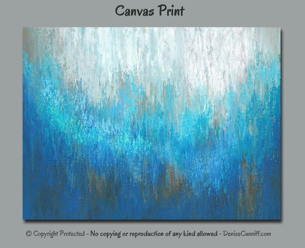 Abstract Wall Art Canvas Painting Art Print Large Turquoise Pertaining To Turquoise And Brown Wall Art (Image 3 of 20)