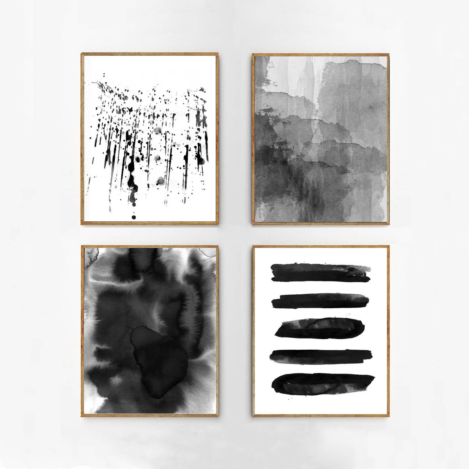 Abstract Watercolor Set Black And White Wall Art Large Print Regarding Large Black And White Wall Art (Image 1 of 20)
