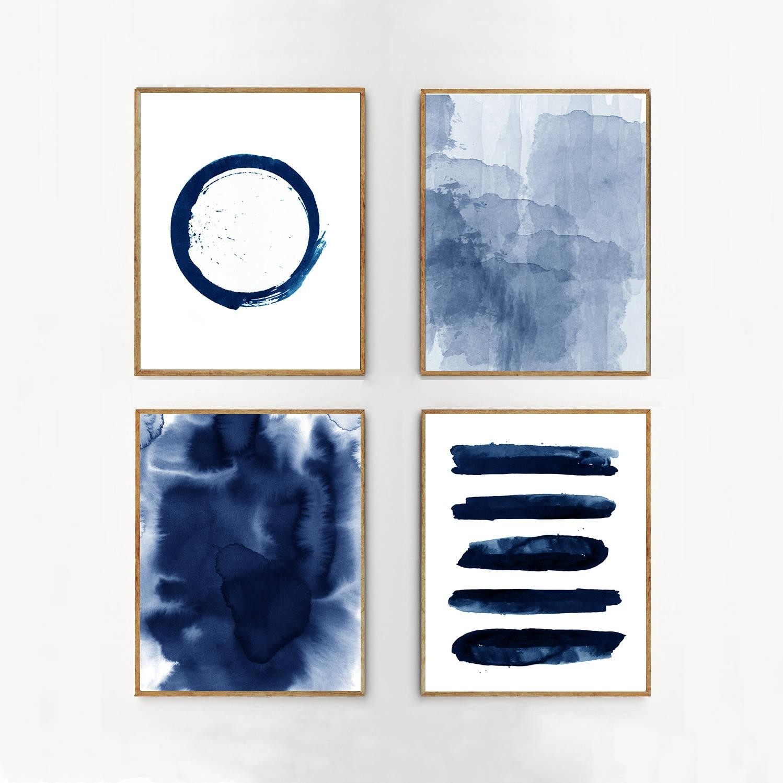 Abstract Watercolor Set Indigo Blue Wall Art Large Navy Prints With Regard To Navy Blue Wall Art (Image 1 of 20)