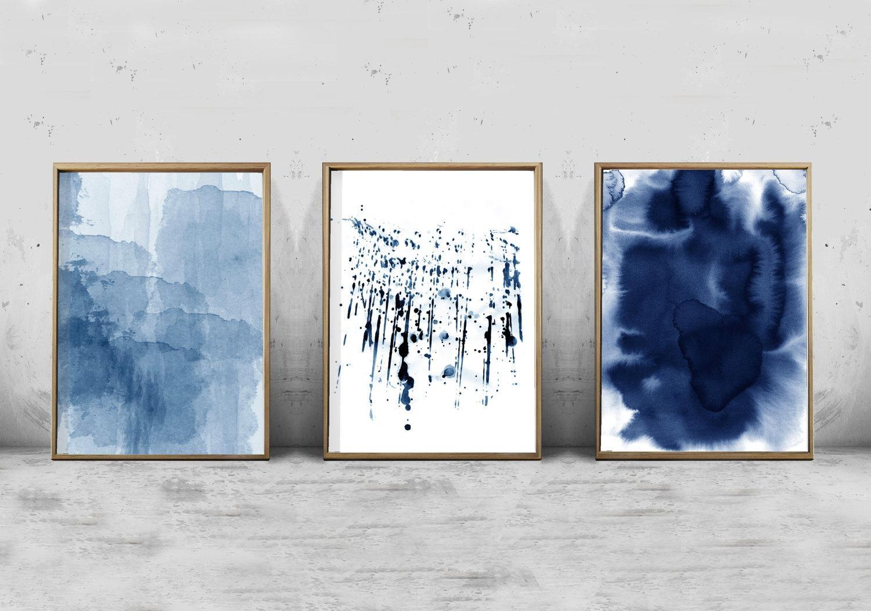 Abstract Watercolor Set Minimalist Art Navy Blue Wall Art Pertaining To Navy Blue Wall Art (View 9 of 20)