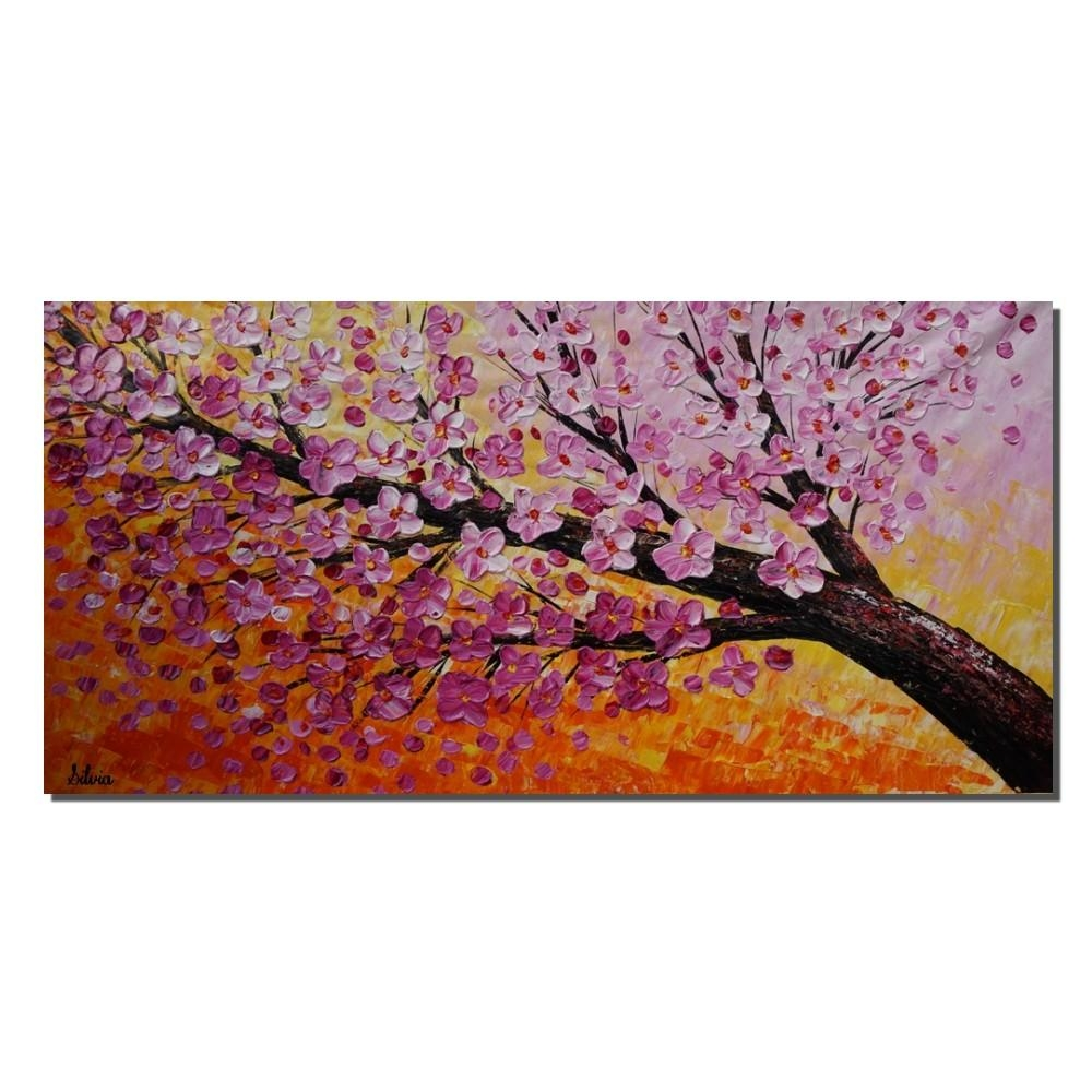 Acrylic Painting, Modern Painting, Wall Hanging, Large Painting Throughout Flower Wall Art Canvas (Image 3 of 20)