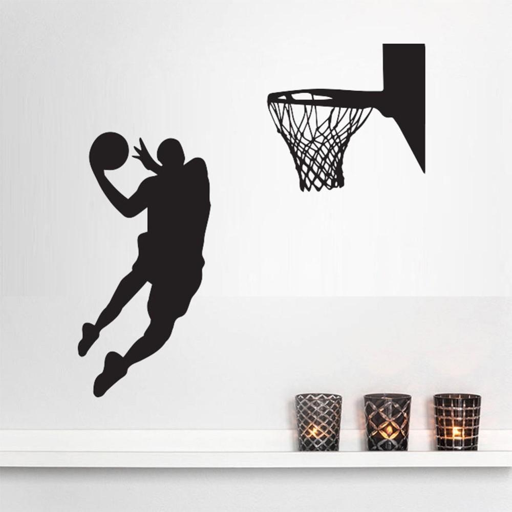 Acting Cool Wall Decal Nba Slam Dunk Basketball Wall Mural Pertaining To Nba Wall Murals (View 13 of 20)