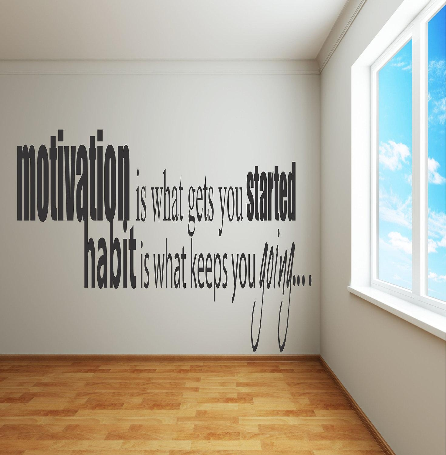 Adhesive Wall Decals Motivation Is What Gets You Pertaining To Inspirational Wall Decals For Office (Image 1 of 20)