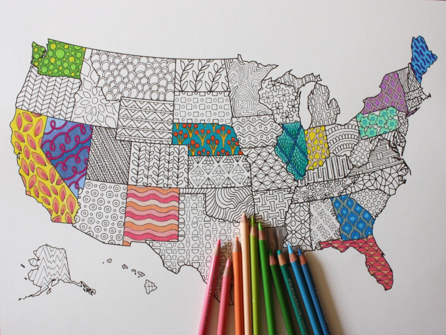 Adult Coloring Poster United States Map // Adult Coloring // Throughout United States Map Wall Art (View 5 of 21)